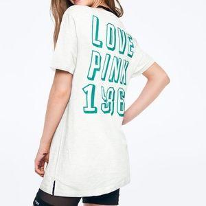 NWT VS PINK L White Logo Campus Shirt